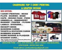 charmaine top t-shirts print, caps,mugs, water bottles, plates, banners, stamps