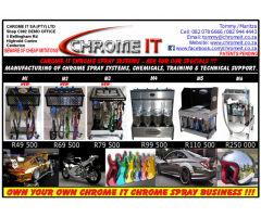 CHROME IT CHROME SPRAY SYSTEMS and CHEMICALS - VARIOUS MODELS AVAILABLE