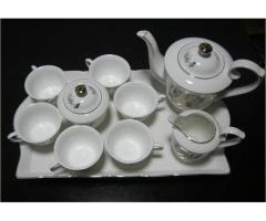 Porcelain Coffee Set with Golden Flowers