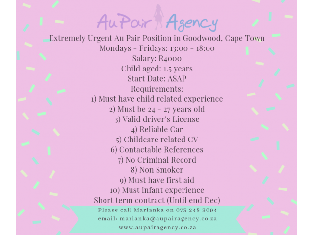 Extremely Urgent Au Pair Position in Goodwood, Cape Town - 1/1