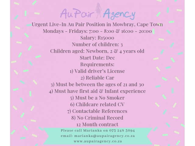 Urgent Live-In Au Pair Position in Mowbray, Cape Town - 1/1