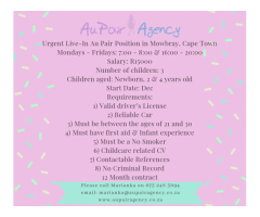 Urgent Live-In Au Pair Position in Mowbray, Cape Town