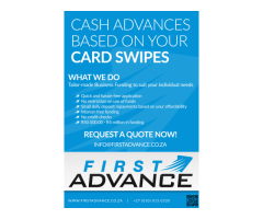 First Advance - Cash Loans Based On Your Card Swipes (Pay Back As Your Business Trades)