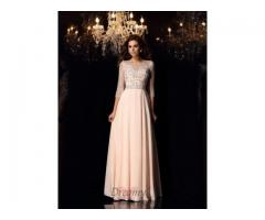 Scoop Chiffon 3/4 Sleeves Floor-Length Dress