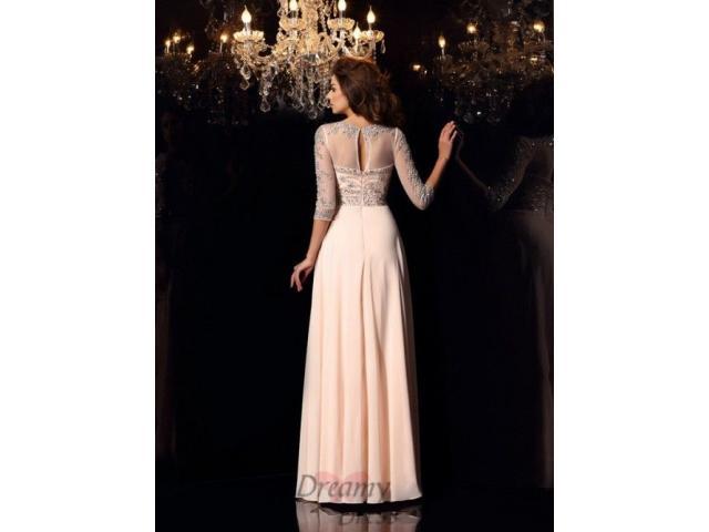 Scoop Chiffon 3/4 Sleeves Floor-Length Dress - 2/2