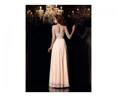 Scoop Chiffon 3/4 Sleeves Floor-Length Dress