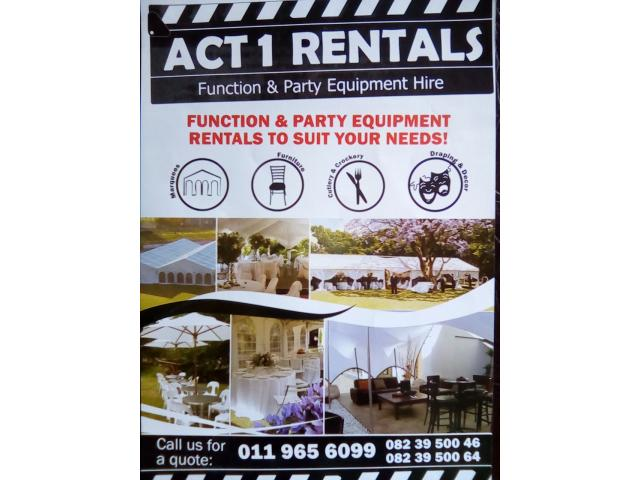 ACT 1 RENTALS MARQUEE and PARTY EQUIPMENT HIRE - 1/4