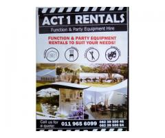 ACT 1 RENTALS MARQUEE and PARTY EQUIPMENT HIRE