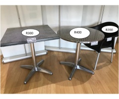Canteen tables and plastic chairs