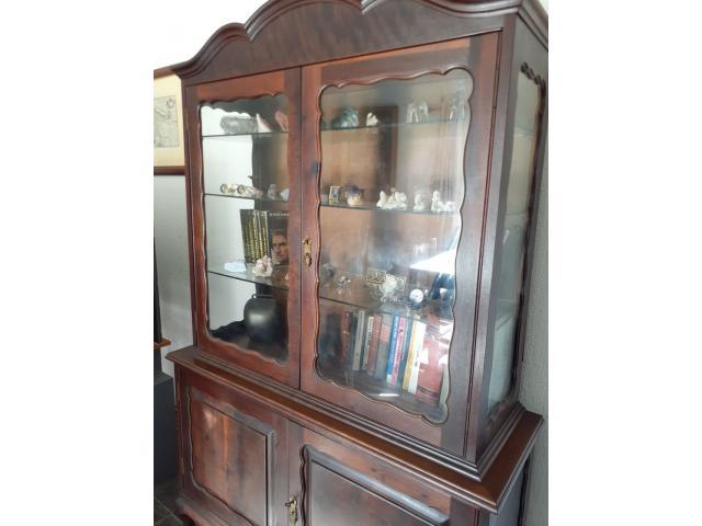 Mahagony vintage display/bookcase glass door cabinet - 2/4