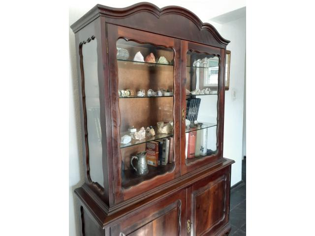 Mahagony vintage display/bookcase glass door cabinet - 3/4