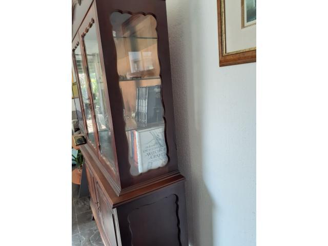 Mahagony vintage display/bookcase glass door cabinet - 4/4