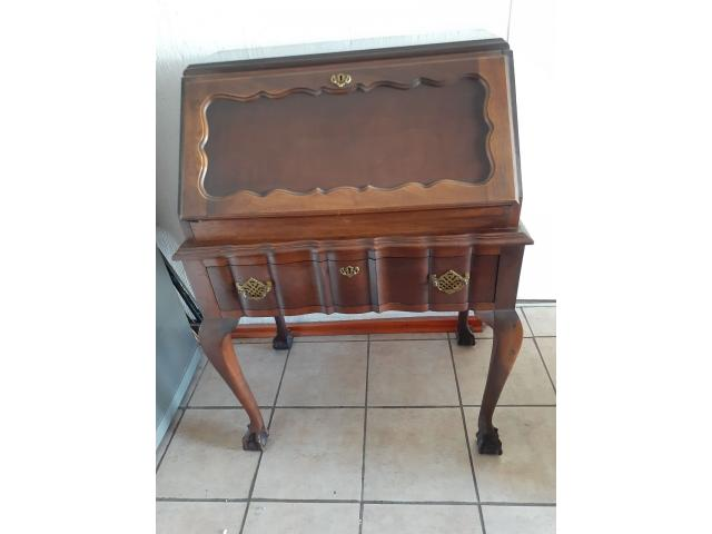 IMBUIA VINTAGE SECRETAIRE BUREAU DROP FRONT WRITING DESK - 1/4