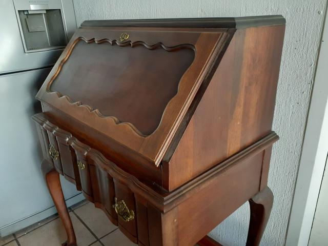 IMBUIA VINTAGE SECRETAIRE BUREAU DROP FRONT WRITING DESK - 3/4