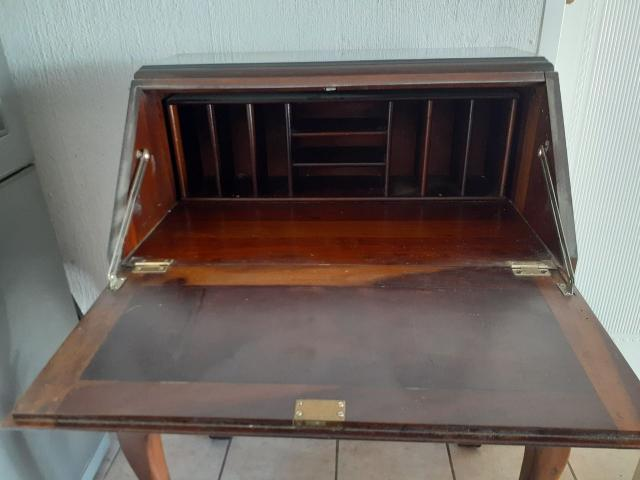 IMBUIA VINTAGE SECRETAIRE BUREAU DROP FRONT WRITING DESK - 4/4