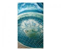 VINTAGE H. BEQUET Quaregnon Hand Painted Belgium Blue Pitcher #314