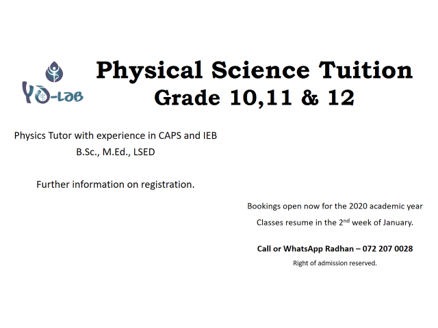 Physical Science Tuition - 1/1
