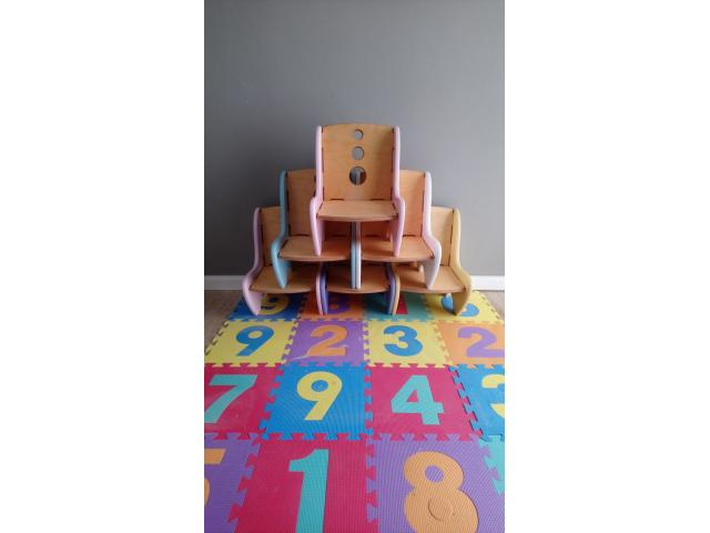Unique designed Kids wood chairs x7 chairs (demo stock) - 1/4