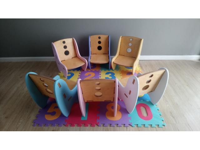 Unique designed Kids wood chairs x7 chairs (demo stock) - 2/4
