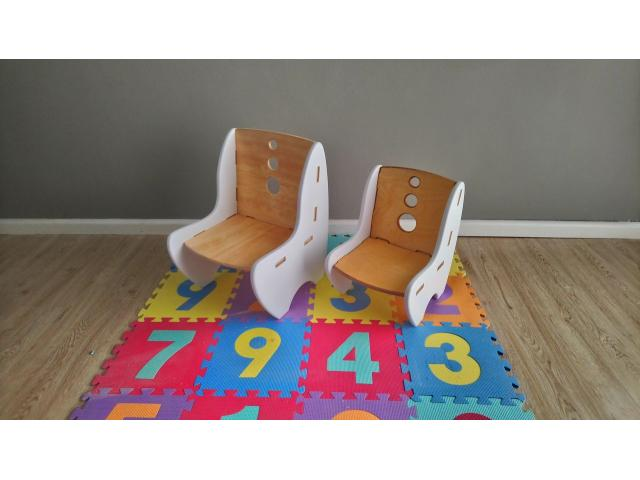 Unique designed Kids wood chairs x7 chairs (demo stock) - 3/4