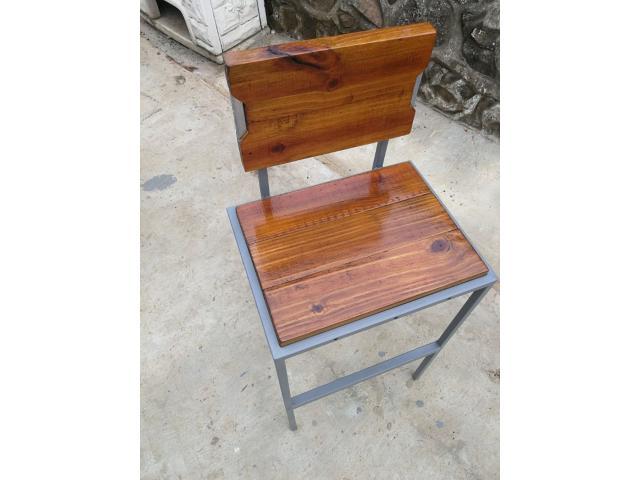 Metal and Wood Bar stool - 2/3