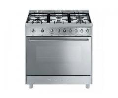 SMEG 90CM 6 BURNER STEEL FULL GAS COOKER. MODEL: C9GGASSA9