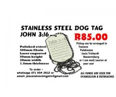 Stainless Steel Dog Tag John 3:16