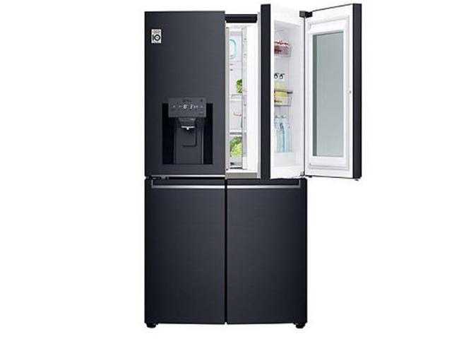 LG 910L Multi Door Fridge, with InstaView Door-In-Door®, in Matte Black Stainless Steel - 1/3