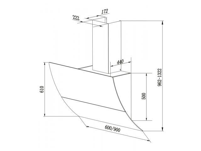 FALCO 90cm AR-90-701 Wall Extractor - 2/2