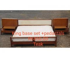 (Teak) King Size Bed Base Set + Pedestals