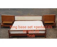 (Teak) King Size Bed Base Set + Pedestals