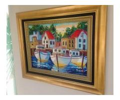 Large Oil Painting with gold Frame - Near Fourways