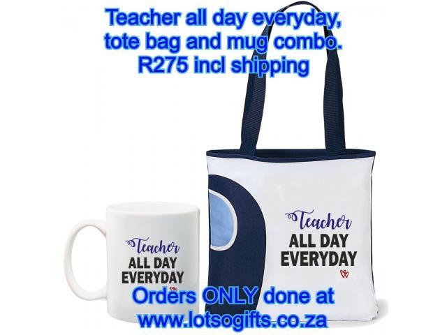 Teacher all day everyday, tote bag and mug combo - 1/4