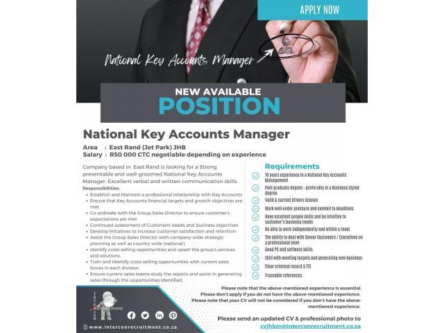Job: National Key Accounts Manager - East Rand (Jet Park) JHB - 1/1