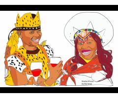 Art for sale. Cartoonised wedding portraits on canvas