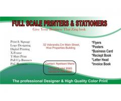full scale printer and stationers